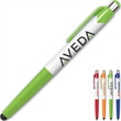 Comfort Grip™ Pen + Stylus Black Grip - Touch stylus at tip of white barrel pen with chrome plunger for convenience.