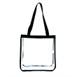 Square Clear Tote Bag - Clear tote bag made of all clear PVC and 600 denier polyester with PVC backing that meets NFL stadium requirements.