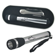 Silver Knife & Torch Set - 9 in 1 multi tool and torch set in tin gift box with matching black rubber accents.