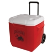 "Coleman 45 Quart (70 Can) Wheeled Cooler - 18"" x 17 1/2"" x 17 5/8"" cooler with wheels, telescoping handle and Have-A-Seat lid with beverage holders from Coleman"