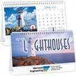 Kingswood Collection Lighthouses Desk Calendar - Spiral bound desk calendar, 13 month.