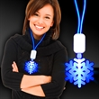 Blue LED Snowflake Necklace with Extra Large Pendant - Beautiful Blue Light up Snowflake LED pendant necklace perfect for Winter events and holidays with imprint area on the rectangle