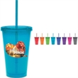 "Color Carnival Cup - Color carnival cup. Double walled, BPA free. Color cup, lip, and straw. 16 oz. Item height: 6.3""."