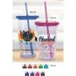 Carnival Cup - Clear Straw, Color Lid - 16 oz clear cup with clear straw and color lid.