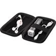 Tough Tech (TM) Econo Battery Set & Retractable Earbuds Set - Charger set with retractable earbuds in black case with white accessories.