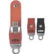 4GB Leather Drive (TM) Tier 1 - Leather USB drive, omega clip.