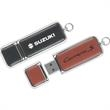 2GB Leather Drive (TM) Tier 1 - Leather USB 2.0 flash drive with chrome trim.