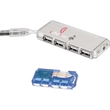 Mini USB 4-Port Hub 1.1 - Mini USB 4-port hub 1.1, features a data transmission indicator light.