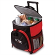 On The Go Rolling Cooler - 24 can capacity rolling cooler with double inline wheels, telescopic handle, front zippered and side mesh pockets.