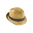 Fedora Straw Hat - Quality straw fedora style hat with custom woven fabric band up to 8 colors, sewn to one side of 1-color webbing.