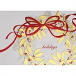 "Red, Gold & Silver Wreath Greeting Card - Holiday greeting card with ""Happy Holidays"" on the front. White Stock, 4-Color Design. Silver Foil Accents."