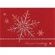 """Silver Dainty Snowflakes Greeting Card - Greeting card with """"Season's Greetings,"""" and snowflakes on front. Red Stock with Silver Foil Accents."""