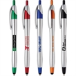 Javalina™ Chrome Stylus Pen (Pat #D709,949) - Javalina Chrome Stylus has an hourglass shape,stylus tip, brushed silver barrel w/jewel tone trims & ultra smooth writing ink