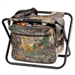 Camo Seat Cooler - Seat cooler, Realtree APX camo, holds 18 cans plus ice, steel frame, padded seat, zippered main compartment, no-leak liner.