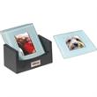 Photo Coaster Set - Photo coaster set, jade glass with frosted bevel edges.