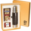 Ghirardelli® Gift Set - Gift set with leather wrapped thermos, 5 packets of hot cocoa mix and chocolate.