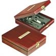 Rosewood Wine Tool Set - Rosewood box with stainless steel wine set including wine pourer and bottle stopper.