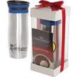 Click 'N Sip Gleam Tumbler & Ghirardelli® Cocoa Gift Set - Stainless steel tumbler and hot cocoa gift set.