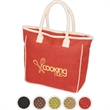 Seville Jute/Canvas Tote - Jute and cotton tote bag with large zippered main compartment.