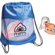 Clear-View Drawstring Bag - Drawstring bag with water resistant coating, string shoulder straps and imprint on clear PVC safety window