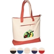 Zippered Cotton Boat Tote - 12 oz. cotton boat tote bag with zippered main compartment and zippered front pocket