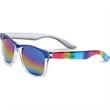 Rainbow Sunglasses - Rainbow style sunglasses. Metalized rainbow frames and mirrored rainbow lens. Sturdy construction. 400 UV protection.