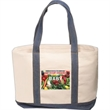 Cotton Tote with Denim Accents - 10 oz. cotton tote bag with denim accents