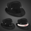 Black Sequin LED Fedora Hat with Imprinted Band - Add a white or black elastic band with your company name or logo silk screened on it for a great way to promote!