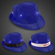 Blue Sequin LED Fedora Hat with Imprinted Band - See your company name or logo in lights when you add an imprinted band to this bright blue sequin fedora!