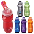Forte 24 oz. PET Water Bottle - Water bottle with 24 oz. capacity; contoured body with textured grip and flip-open drinking spout.
