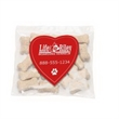 Mini Dog Bones in Bag with Heart Magnet - Miniature dog bones bag with a four color process heart-shaped magnet.
