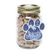 Mini Dog Bones in Pint Jar w/Paw Magnet - Miniature dog bones pint jar with a four color process paw-shaped magnet.