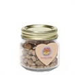 Cat Treats in Half Pint Jar w/ Heart Magnet - Glass half pint jar filled with 5 ounces of cat treats with an attached four process imprinted heart-shaped magnet.