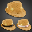 Gold Sequin LED Fedora Hat with Imprinted Band - Gold sequin fedora light up hat with six bright white LED lights and an imprintable elastic band.
