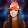 Neon Orange LED Sequin Fedora with Imprinted Band - Our outrageous Orange LED Sequin Hats come with imprinted white or black elastic band for great exposure.
