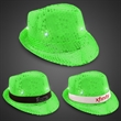 Neon Green LED Sequin Fedora with Imprinted Band - Neon green sequined fedora hat with six bright white LED lights and an imprinted black or white elastic band.