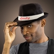Black Funky Fedora with Imprinted Hat Band - Black fedora hat with an imprintable black or white hat band.