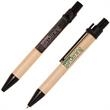 Mini Eco Paper Barrel Pen - Mini click action ballpoint pen with natural recyclable paper barrel.  CLEARANCE.