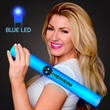 Imprinted Blue Light-Up Foam Cheer Stick - Custom LED light up foam stick, 5 day production, up to 12 day production time with decal.