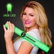 Imprinted Green Light-Up Foam Cheer Stick - Custom LED light up foam stick, 5 day production.