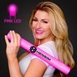 Imprinted Pink Light-Up Foam Cheer Stick - Custom LED light up foam stick, 5 day production.