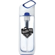 Kor® Nava™ Water Bottle - 650 ml water bottle with coconut-shell filter, rapid water flow, and one-handed push-button cap.
