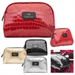Bella Mia™ Glam-Up Accessory Bag - Vinyl cosmetic tote with crocodile pattern, interior zip pocket and piping detail.