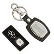 Leather And Brushed Plate Keyring
