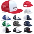 Yupoong 5-Panel Flat Bill Trucker Cap - Structured, high-profile, five-panel trucker hat with a flap bill, snapback closure; made of cotton, polyester and nylon.