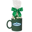 Ceramic Mug Stuffer with Corporate Color Jelly Beans - Ceramic mug stuffer drinkware with corporate color jelly beans candy.  Great food gift idea for the holiday or Christmas.