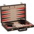 "15"" Black Leatherette Backgammon Set - 15"" black leatherette briefcase style case with backgammon set"