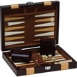 "9"" Brown Backgammon Set - 9"" brown briefcase with latches, handle and backgammon set inside"