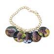 "7 1/4"" Full Color Charm Bracelet w/ 5 Bales, 5 Circle Charms - 7 1/4 inch Full Color Charm Bracelet with 5 Bales and 5 Circle Charms"