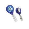 "Tear Shape Retractable Badge Holder - Tear drop shaped badge holder with 34"" retractable cord and swivel alligator clip on the back."